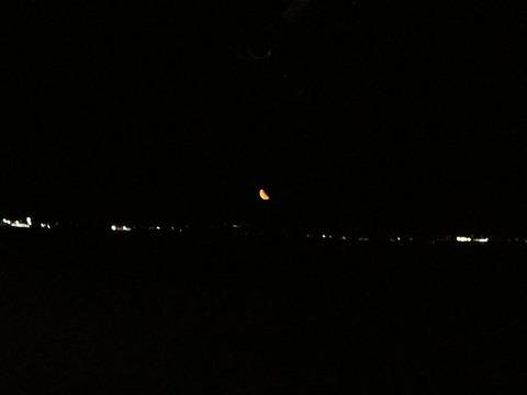 函館漁火通から見た三日月