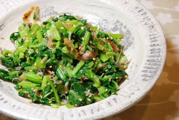 ★うさぎ食堂へようこそ★-小松菜のジャコ炒め