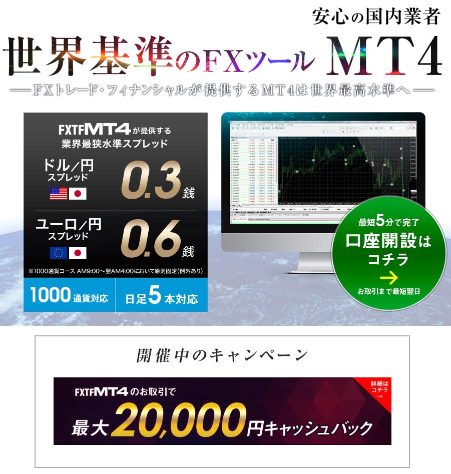 MT4 FX2万円キャッシュバック