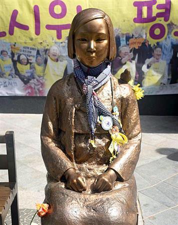 ソウルの日本大使館前の慰安婦像