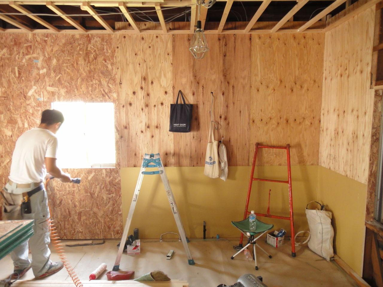 戸建てリフォーム 木工事10 osb構造合板の壁 狭小住宅編 人生万事
