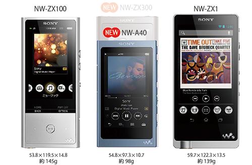 サイズ比較 NW-ZX300 NW-ZX100 MW-ZX1 NW-A40 WALKMAN ウォークマン