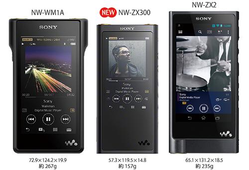 サイズ比較 NW-ZX300 NW-WM1A NW-ZX2 WALKMAN ウォークマン