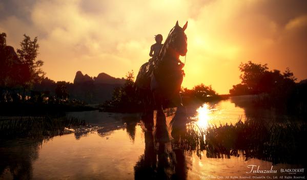 黒い砂漠 夕日 馬