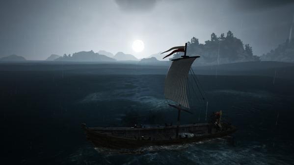 黒い砂漠 漁船 月夜