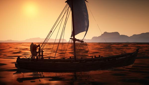 黒い砂漠 漁船 夕陽