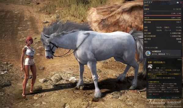 黒い砂漠 8世代白馬