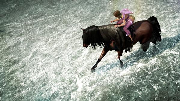 黒い砂漠 海岸 馬