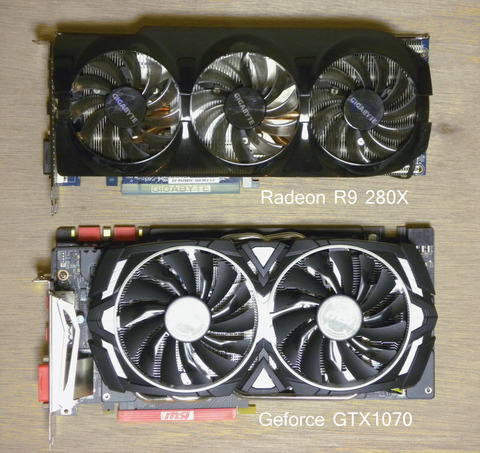 Radeon R9 280X  Geforce GTX1070 ARMOR