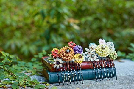 つまみ細工 四季の花寄せ 櫛