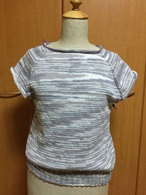 ネックから編む春夏糸のセーター【未完成】