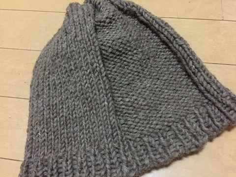 極太糸で編むシンプルニット帽