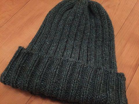 表目3裏目2ゴム編みのニット帽