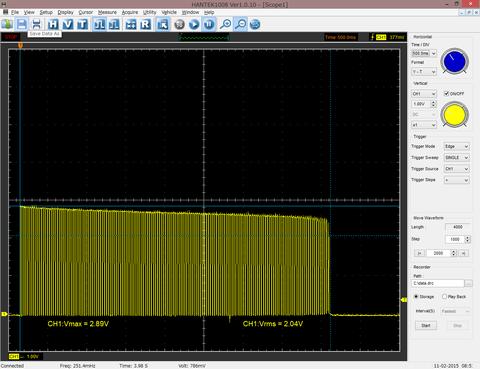5Ω 500ms 電圧降下する