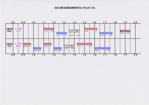 2014 8耐 第2回公開合同テスト タイムテーブル 正解版