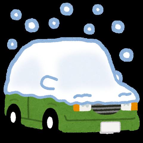 凍った車にお湯