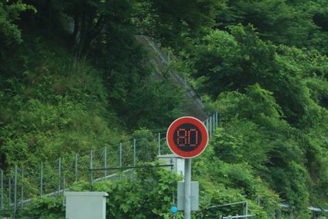 高速道路に速度制限の丸い標識