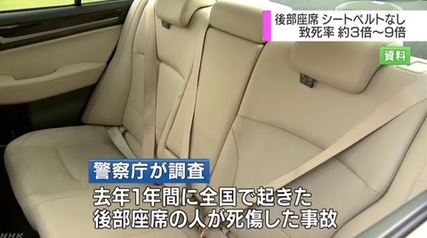 後部座席シートベルト非着用 事故の致死率 高速道路は9倍に