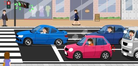信号が青に変わっても車を発進させない
