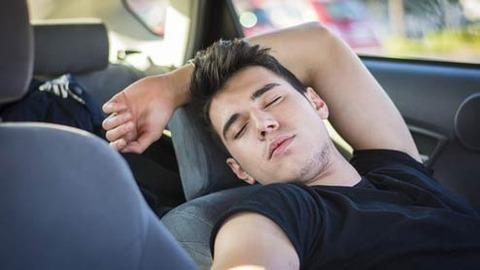 駐車場で車内で昼寝してた