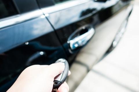 車の鍵のボタン押してキー開けてる