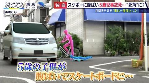 5歳児腹ばいスケボー車突っ込み事故