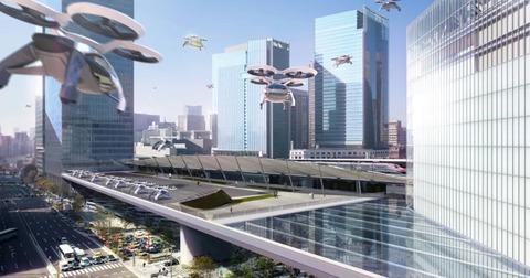 未来の車は空飛んでる