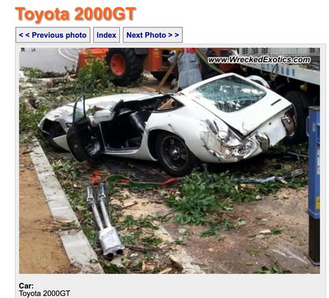 しっかし希少車のトヨタ2000GTに、たまたま樹木が倒木するとかスゲー確率