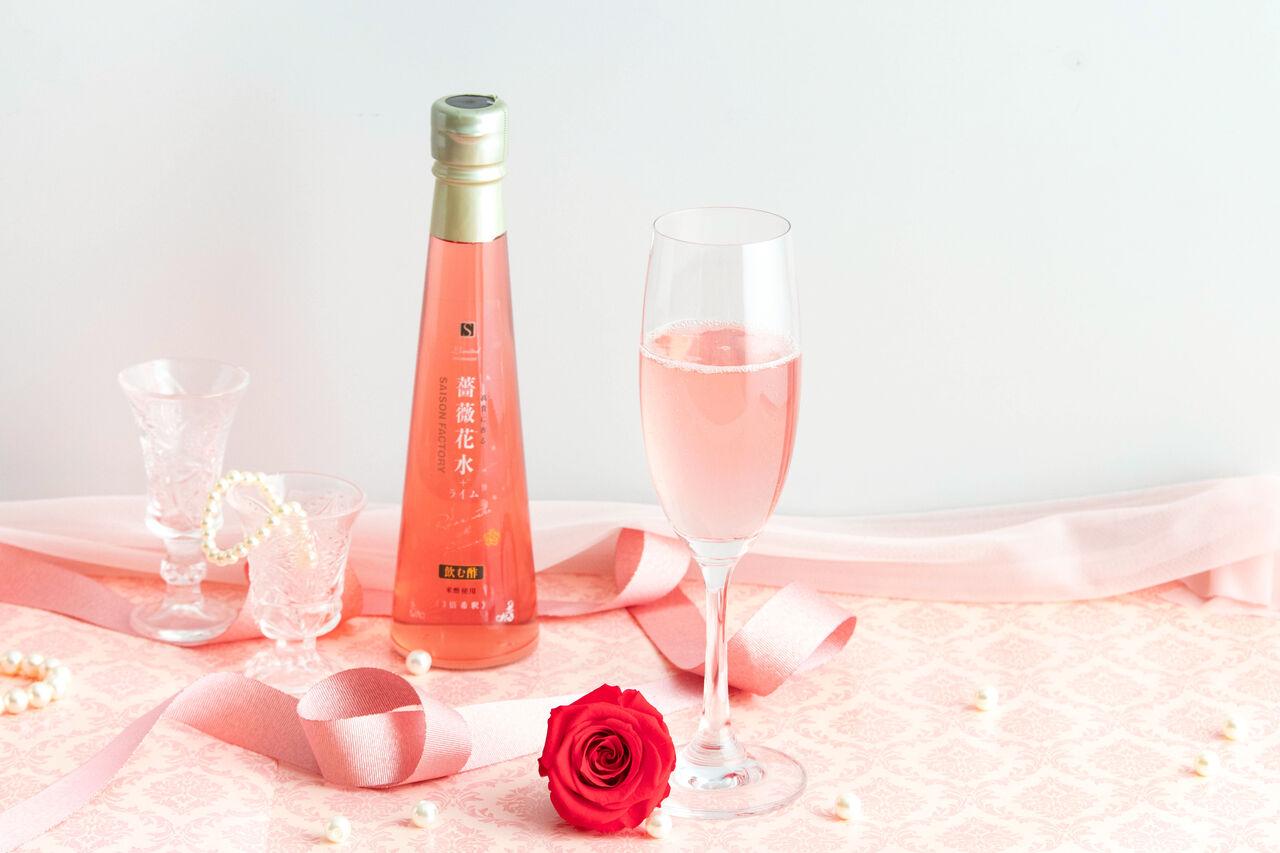 【母の日 BOX】プリザーブドフラワー(薔薇)と飲む酢詰合せ(1)