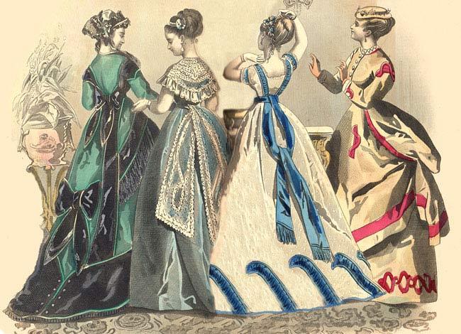 都会から離れているにもかかわらず、伯母様はパリやロンドンから、ファッションプレートや雑誌をとりよせ、それを元にドレスを作らせているので、いつも洗練された