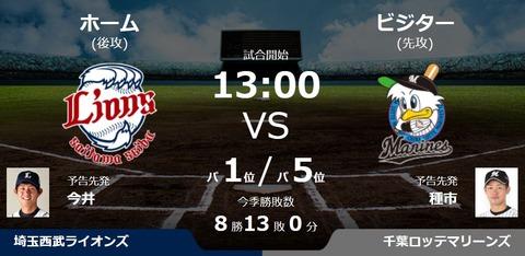 試合実況 9月9日13:00~ 西武-ロッテ(今井×種市)