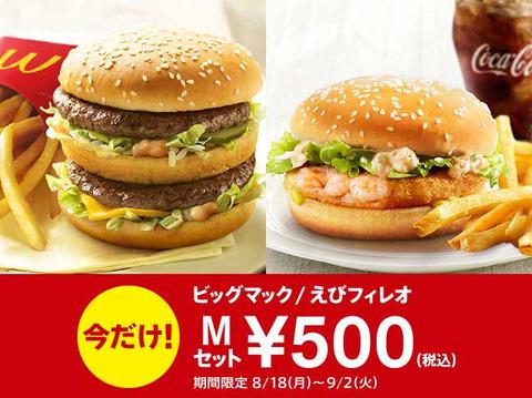 マクドナルドに人が来ない為、苦肉の策500円セット開始
