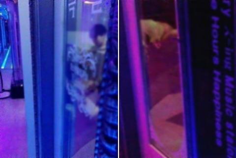 カラオケ店内でセックスしている中学生カップル