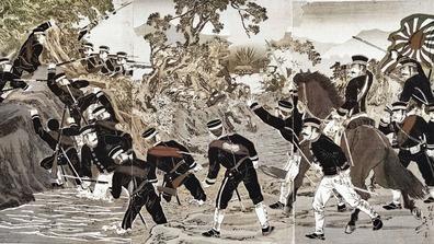 1895年_明治28年_日清戦争_旅順口激戦の図_大英図書館より_114W