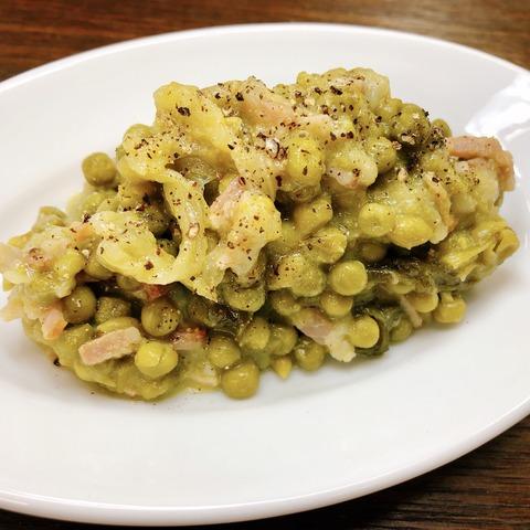 グリーンピースとレタスのクリーム煮