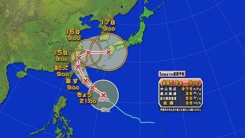 台風18号「やっぱり日本に寄っていくで」