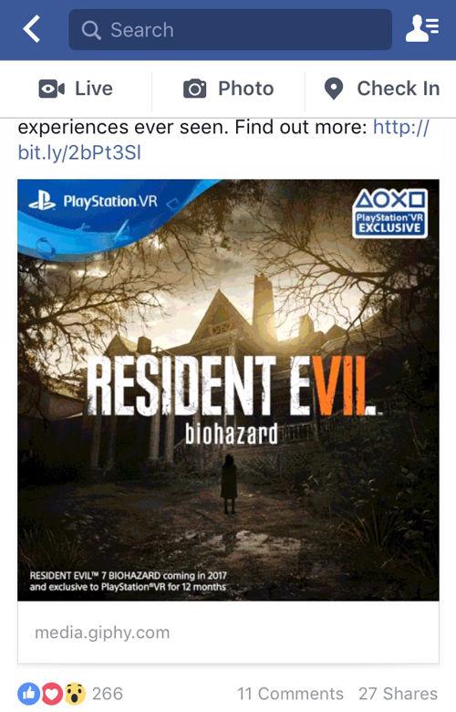 【PSVR】「バイオハザード7」はPS VRの独占タイトルに!?のサムネイル画像