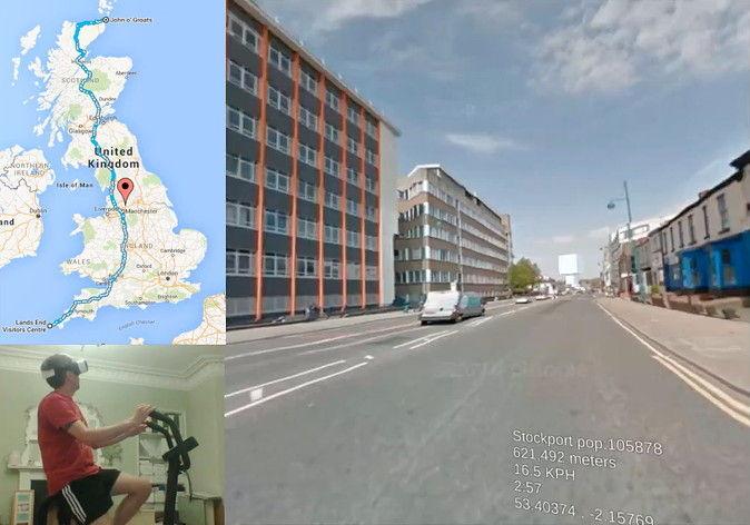 【画像】スコットランドの男性、VRとエアロバイクを使いGoogleストリートビューでイギリス縦断に挑戦!のサムネイル画像