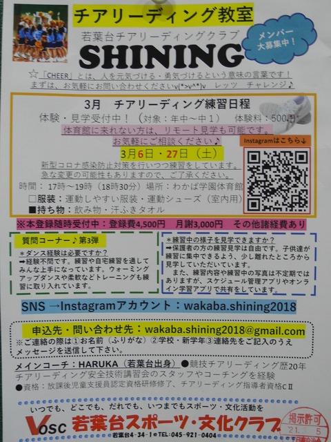 """45チアリーディング教室""""SHINING""""メンバー募集"""