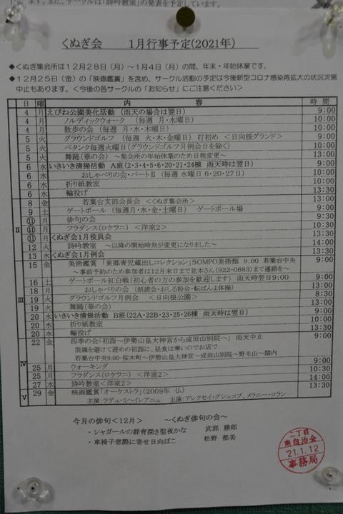 36くぬぎ会1月の予定