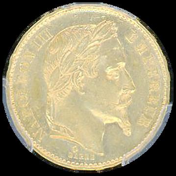 1869-BB ナポレオン3世有冠 20フラン金貨 MS-63