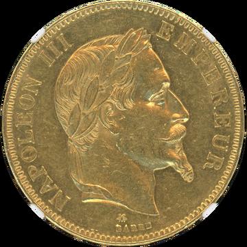 1869-A ナポレオン3世有冠 100フラン金貨 AU58