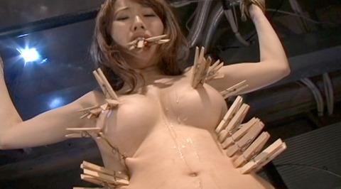 SM拷問調教 全身洗濯ばさみ責めされる女のAVエロ画像 misaki132