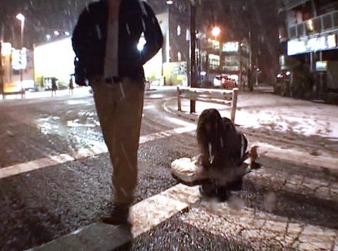 大槻ひびき、雪降る中街中の街頭で土下座する女の画像08