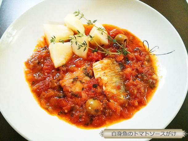 白身魚のトマトソースがけ