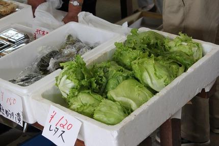 朝市には新鮮な野菜などがあります