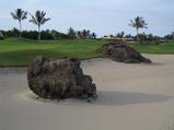 ハワイ島らしい溶岩のあるゴルフコース