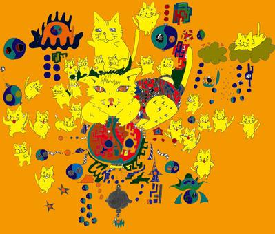 猫じゃらけパラダイス着色