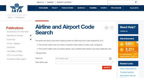 IATA_airline and airport code serch
