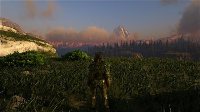 雄大な山を眺めながら